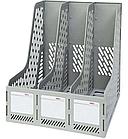 Лоток вертикальный DELI, 3 отделения, серый