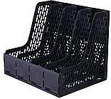Лоток вертикальный DELI, 4 отделения, черный
