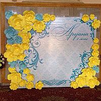 Баннер 3Д из бумажных цветов, пресс-стена, фотозона Астана, баннер на свадьбу
