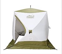 Зимняя палатка для рыбалки Следопыт Куб Premium 2.1х2.1, трехслойная, бело-оливковая.