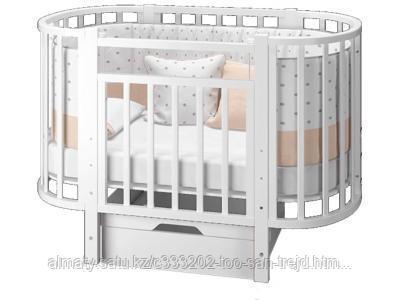 Детская кровать-трансформер  Элен 3 с маятником и ящиком (белый )