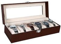 Шкатулка в кожаном переплете для хранения наручных часов Banda-C1006 (Темно-коричневый)