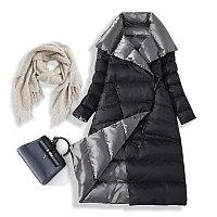 Зимний женский пуховик. Двусторонний: черный с серебристым., фото 1