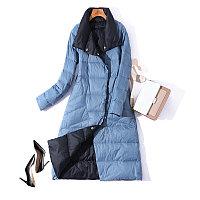 Зимний женский пуховик. Двусторонний: черный с голубым., фото 1