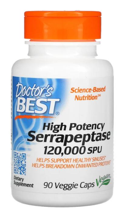 Doctor's Best, Сильнодействующая серрапептаза, 120 000 SPU, 90 растительных капсул