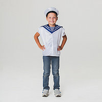 Детский карнавальный костюм «Моряк», жилет, бескозырка, 4-6 лет, рост 110-122 см