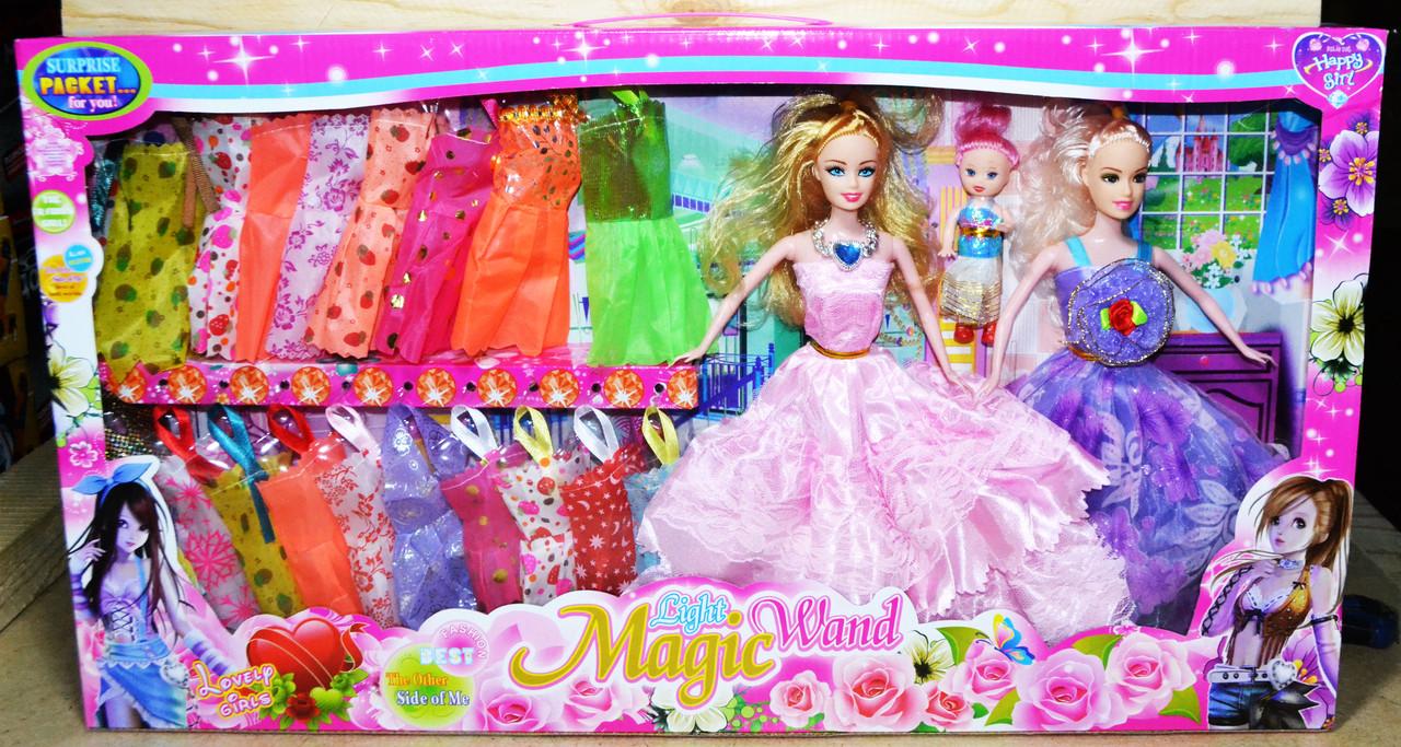 YX017 Кукла Light Magic Wand 2 в 1 в пышном платье 19 платьев 62*34см