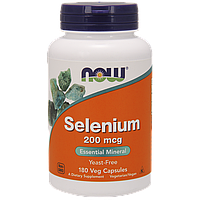 Селен, 200 мкг, Now Foods 180 капсул, бездрожжевой