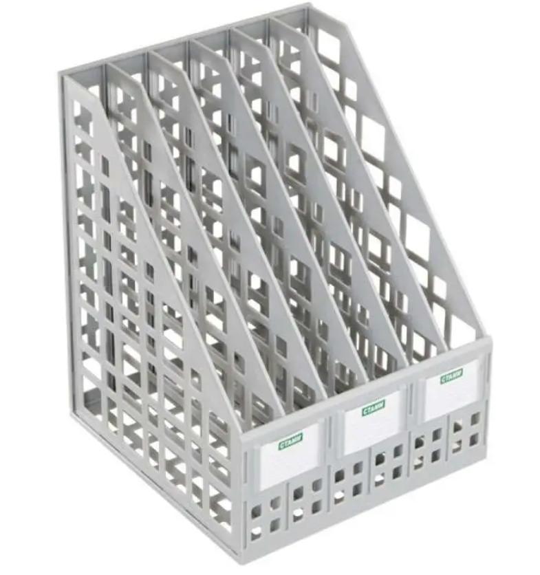Лоток вертикальный СТАММ, 6 отделений, серый