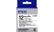 Epson C53S654016 Лента пастельная LK4WBW Strng adh Blk/Wht 12/9 повышенной прочности