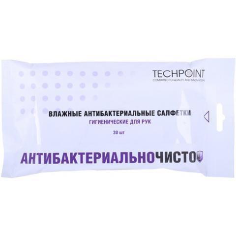 Влажные салфетки Techpoint 9014 антибактериальные для рук  в мягк. упак.(30шт.) /