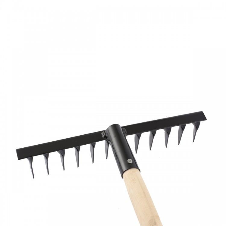 Грабли стальные, 300 х 1300 мм, 12 витых зубьев, деревянный черенок, Россия Сибртех