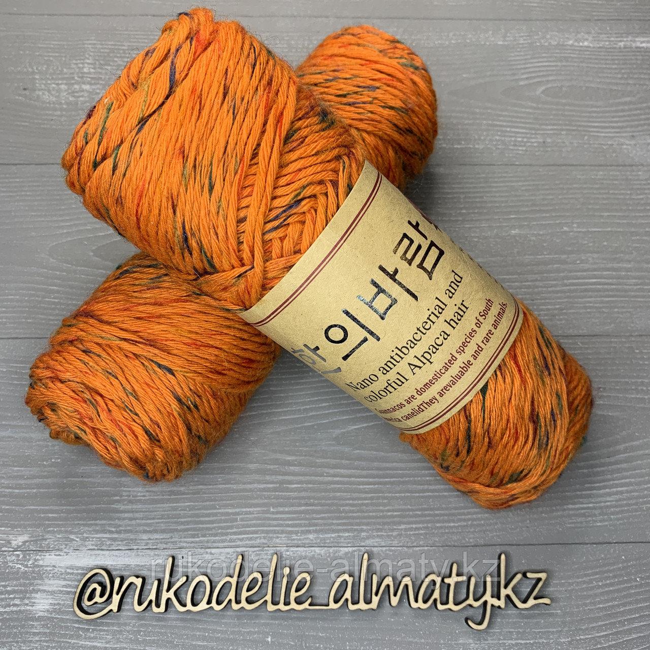 """Пряжа для ручного вязания """"NANO """", 100 гр, цвет-светло-серый оранжевый - фото 1"""