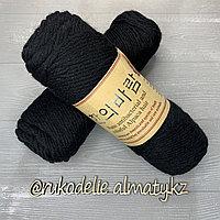 """Пряжа для ручного вязания """"NANO """", 100 гр, цвет-светло-серый черный"""
