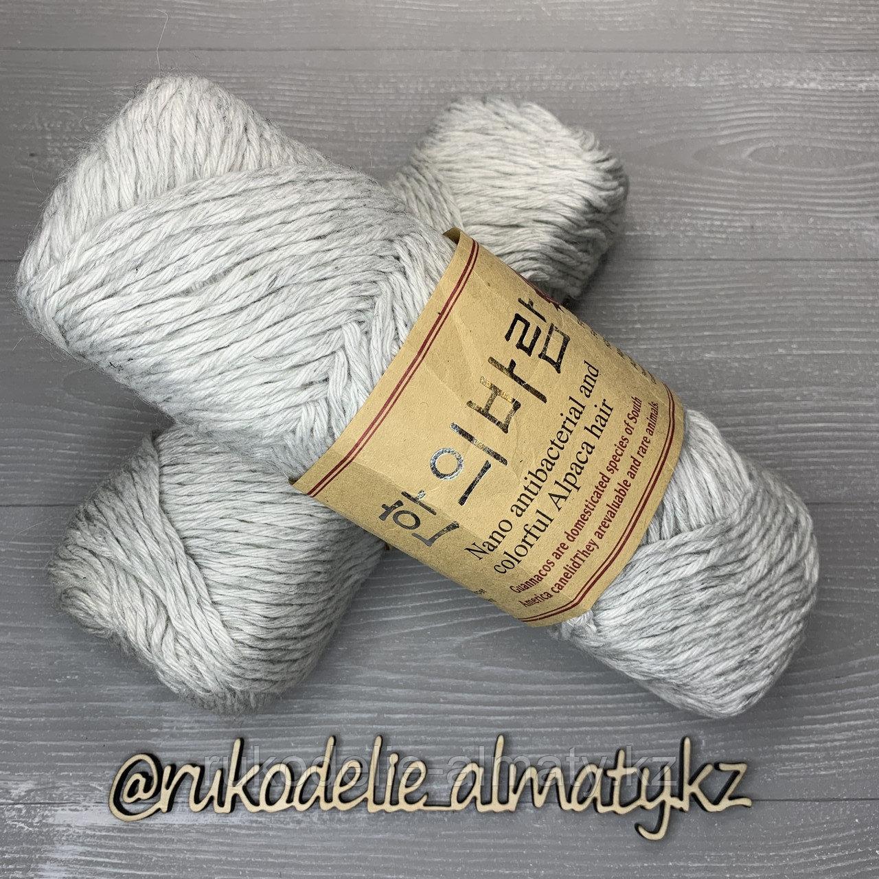 """Пряжа для ручного вязания """"NANO """", 100 гр, цвет-светло-серый серо-белый - фото 1"""