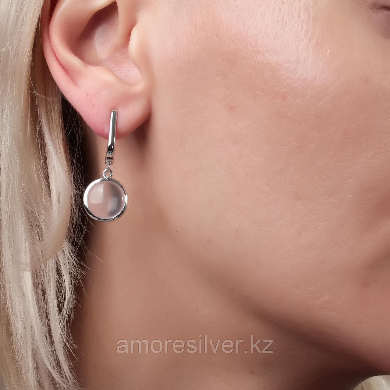 Серьги Teo Santini серебро с родием, кварц розовый, круг SE1081 - фото 2