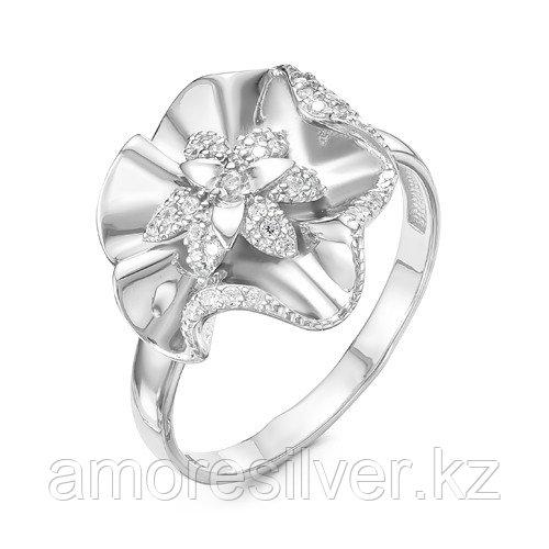 Кольцо Delta серебро с родием, фианит, флора с115932