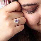 "Кольцо TEOSA серебро с родием, аметист фианит, ""halo"" R-DRGR00792-AM, фото 2"