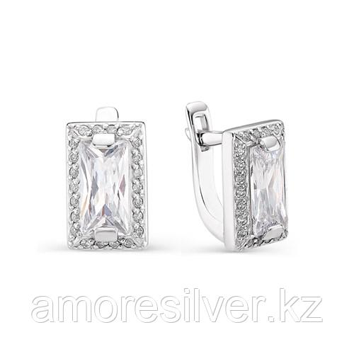 Серьги Алькор серебро с родием, фианит, квадрат 02-0753/00КЦ-00