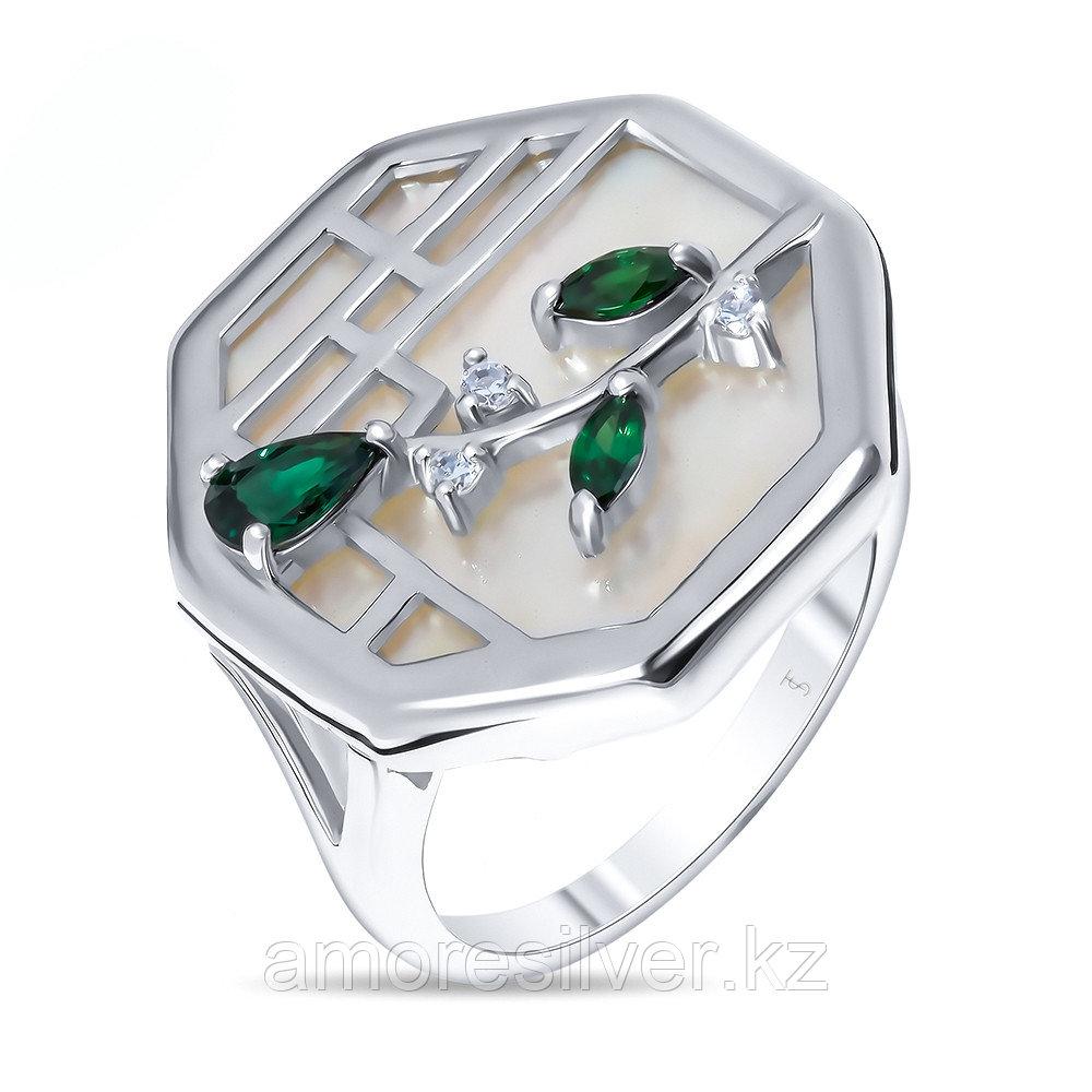 Кольцо Teo Santini серебро с родием, перламутр фианит, флора SR1774