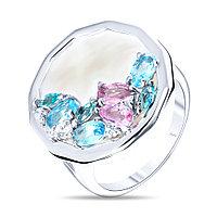 Кольцо Teo Santini серебро с родием, перламутр фианит, круг SR1737