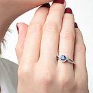 """Кольцо TEOSA серебро с родием, топаз индиго фианит, """"halo"""" R-DRGR00739-TI, фото 2"""