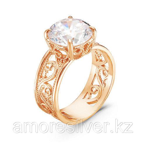 Кольцо Красная пресня серебро с позолотой, фианит, фантазия 2389075