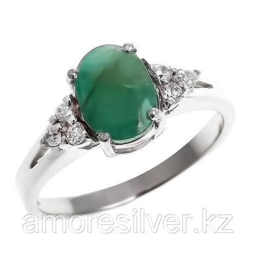"""Кольцо TEOSA серебро с родием, изумруд фианит, """"halo"""" DRGS00052-R-EM"""
