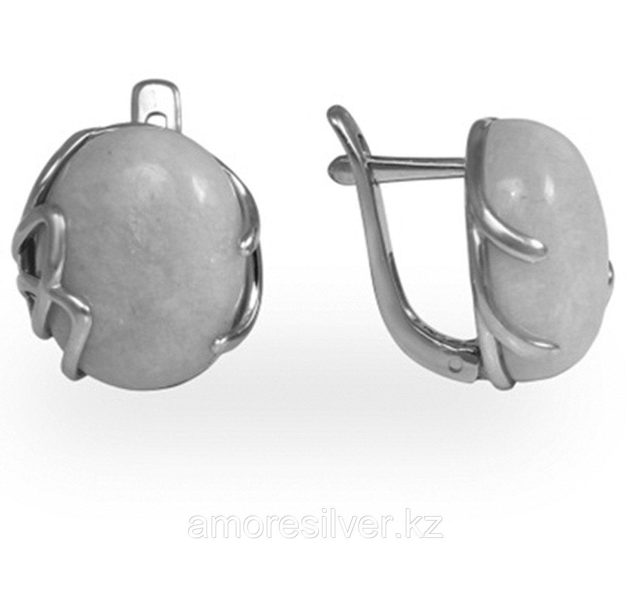 Серьги Елана серебро с родием, бирюза, овал 221446