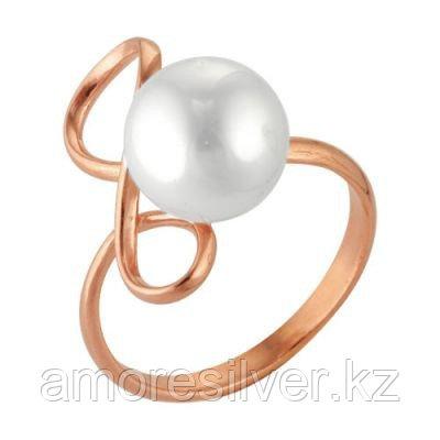 Кольцо Красная пресня серебро с позолотой, жемчуг имит., символы 2366687