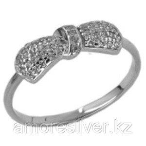 Кольцо Золотые узоры  серебро с родием, фианит, бантик 90-01-2206