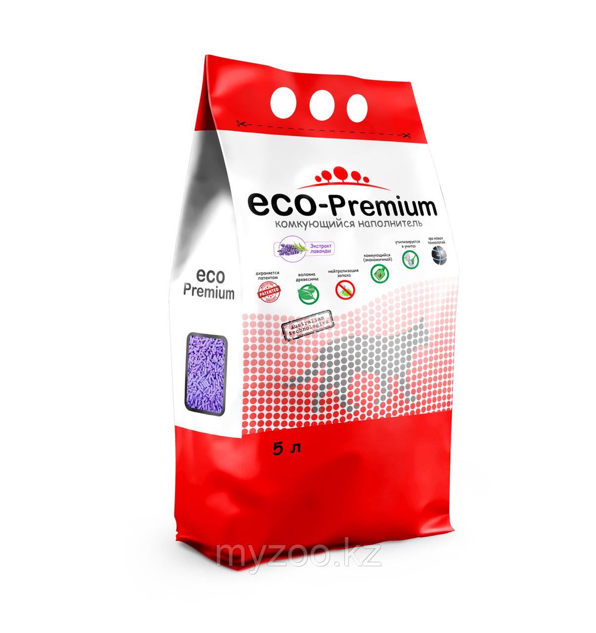 ECO-Premium Лаванда, 5 л  Эко-премиум комкующийся древесный наполнитель 