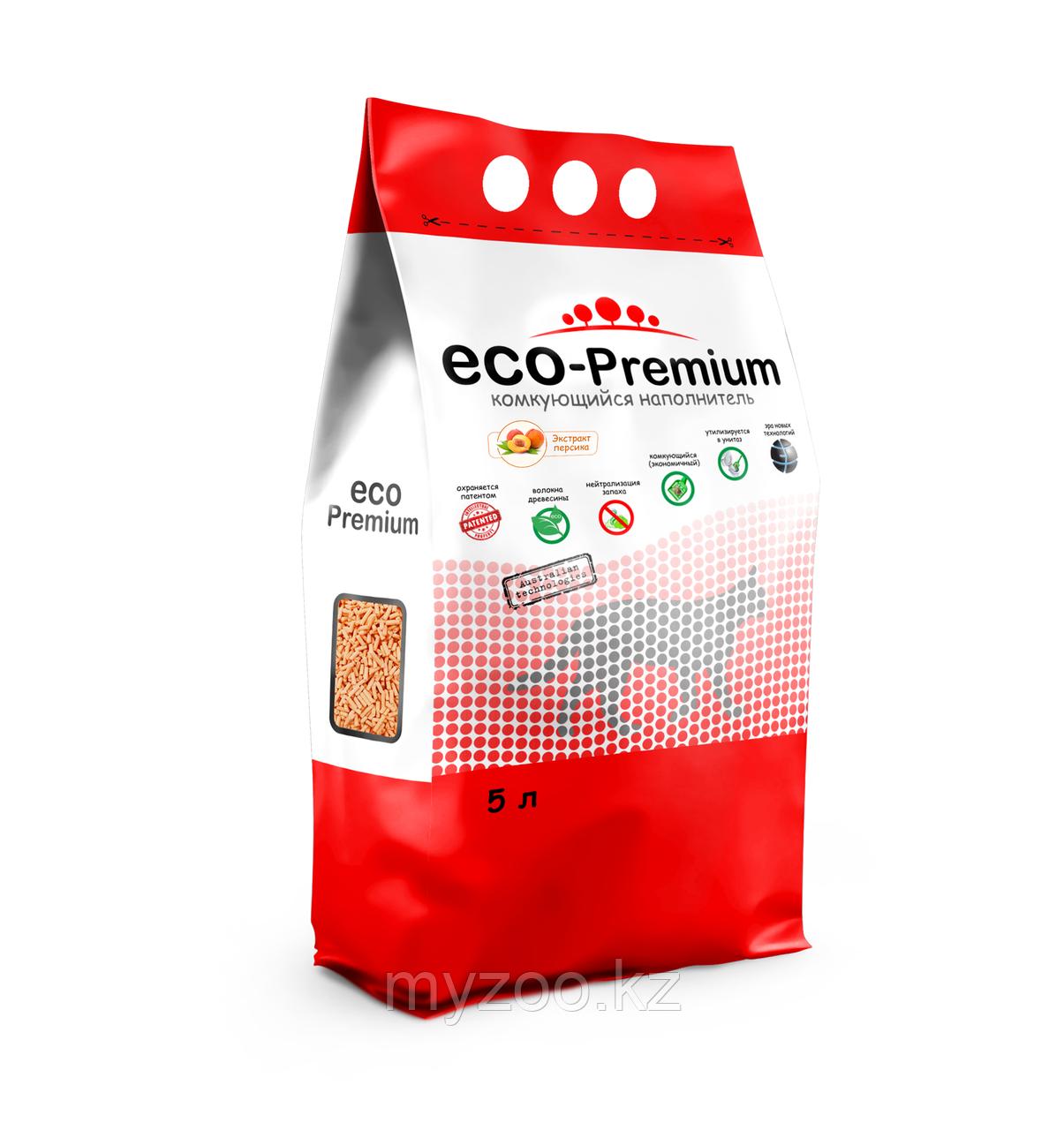 ECO-Premium Персик, 5 л  Эко-премиум комкующийся древесный наполнитель 