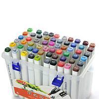 Набор маркеры профессиональные для скетчинга / рисования фломастеры 60 цветов двусторонние