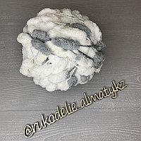 Пряжа помпонная, однотонная бело-серый