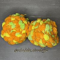 Помпонная фантазийная пряжа, цветная желто-салат