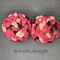 Помпонная фантазийная пряжа, цветная розово-коричневый