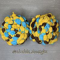 Помпонная фантазийная пряжа, цветная желто-голубой