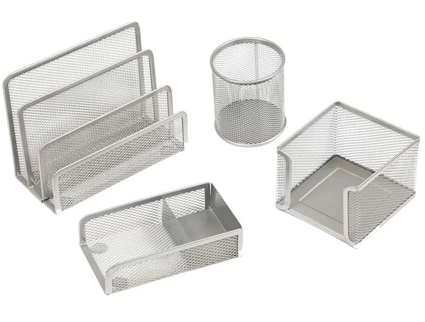 """Набор настольный Berlingo """"Steel&Style"""" 4 предмета, металлический, сетчатый, серебристый"""