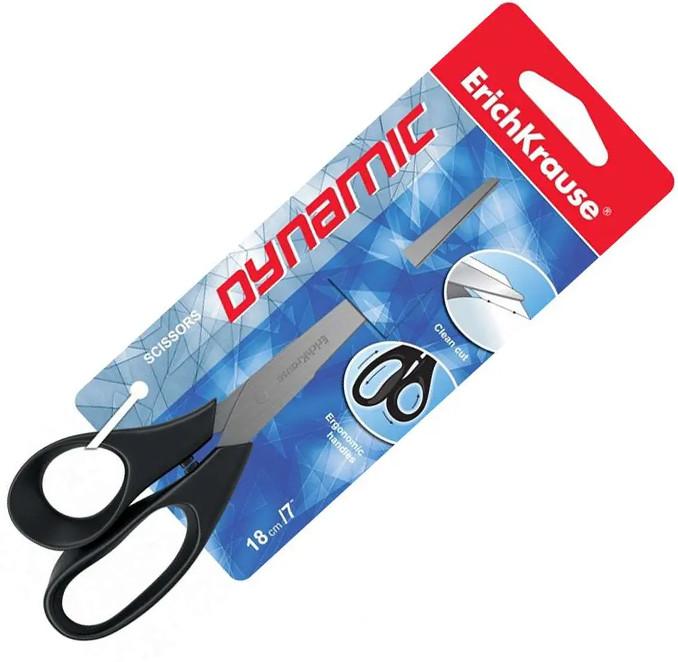 """Ножницы ERICH KRAUSE """"Dynamic"""" 180 мм, пластиковые ручки, ассорти"""