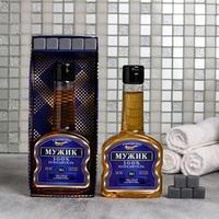 Набор 'Мужик' гель для душа коньяк 260 мл аромат мужского парфюма, мыло-камни