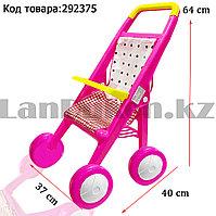 Коляска для кукол складная с широкой рамой и сеткой для вещей h=64 см розовая
