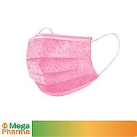 Маска трехслойная из нетканого материала одноразовая, ТОО MegaPharma розовая
