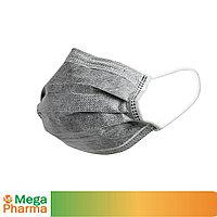 Маска трехслойная из нетканого материала одноразовая ТОО MegaPharma Угольный