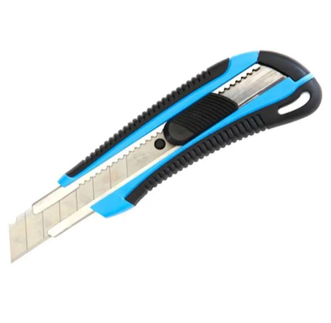 Нож канцелярский DELI, 18 мм, усиленный, прорезиненная ручка