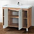 Комплект Тумба для ванной с умывальником и зеркалом «Акваль Лофт» 100 см. белая (Миранда 100), фото 3