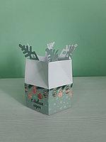Коробка 6,5*13*13см снежинка зеленая