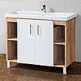 Комплект Тумба для ванной с умывальником и зеркалом «Акваль Лофт» 100 см. белая (Миранда 100), фото 2