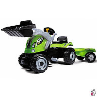 Smoby (Франция) Трактор педальный с прицепом с ковшом, зеленый. 182 х 44 х 62 см -