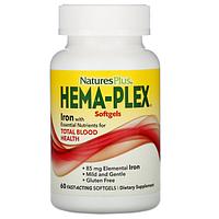 БАД Nature's Plus, Hema-Plex, Iron (60 вегетарианских капсул быстрого действия)